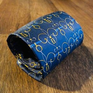 "Fendi Blue & Gold ""FF"" Pattern Silk Tie"